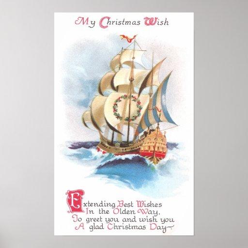 Nave alta en el navidad del vintage de los altos póster