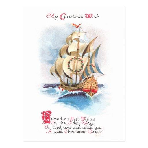 Nave alta en el navidad del vintage de los altos tarjetas postales