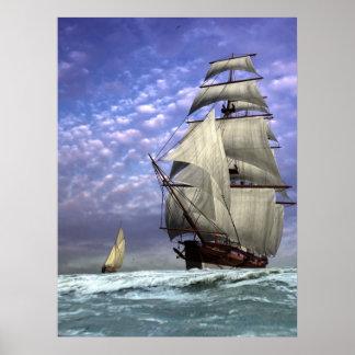 Nave alta y Ketch Poster