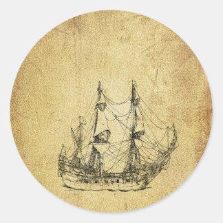 Nave antigua con clase náutica del vintage pegatina redonda