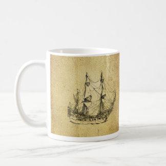 Nave antigua con clase náutica del vintage taza clásica