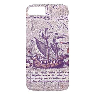 Nave antigua de Magellans del ejemplo del mapa Funda iPhone 7