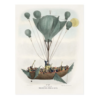Nave antigua del aire del globo tarjeta postal