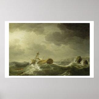 Nave arruinada en una costa rocosa, c.1747-50 (ace posters