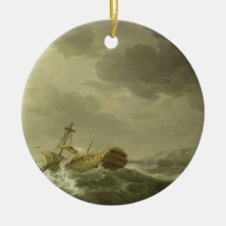Nave arruinada en una costa rocosa, c.1747-50 adorno navideño redondo de cerámica