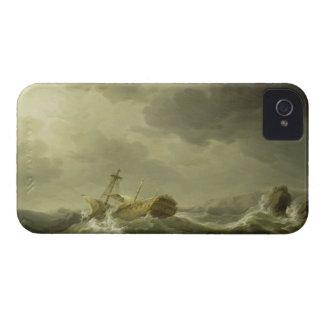 Nave arruinada en una costa rocosa, c.1747-50 iPhone 4 funda