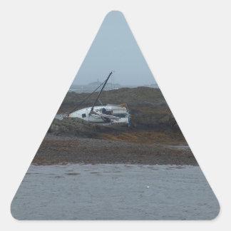 Nave arruinada pegatina triangular