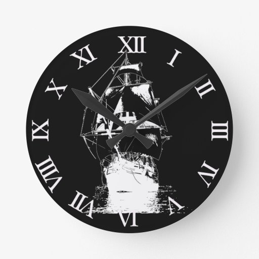 Nave clásica blanca reloj redondo mediano