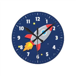Nave colorida de Rocket, espacio exterior, para el Reloj Redondo Mediano