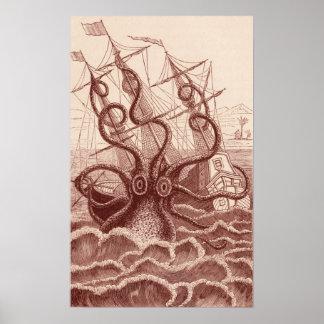 nave contra el pulpo póster