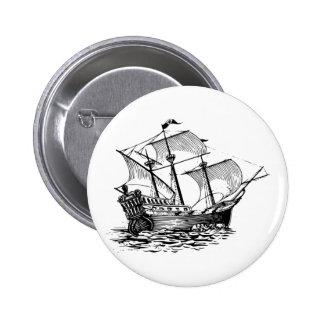 Nave de Galleon Pin Redondo De 2 Pulgadas