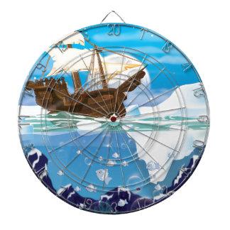 Nave de la vela en el hielo ártico tablero dardos