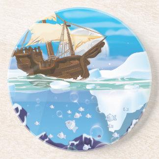 Nave de la vela en el hielo ártico posavasos para bebidas