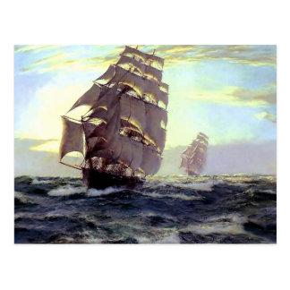 Nave de la vela en la pintura del mar tarjetas postales