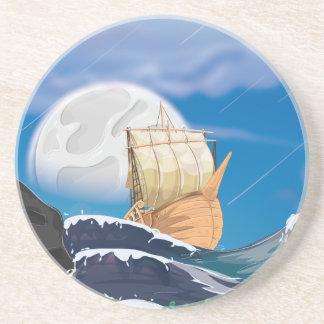 Nave de la vela en tormenta del océano posavasos diseño