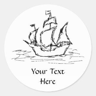 Nave de pirata etiqueta redonda