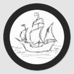Nave de pirata pegatina redonda
