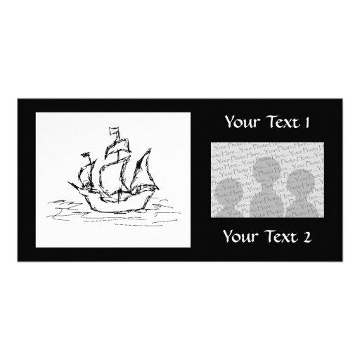 Nave de pirata plantilla para tarjeta de foto