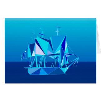 Nave de podadoras geométrica moderna, azul de tarjeta pequeña