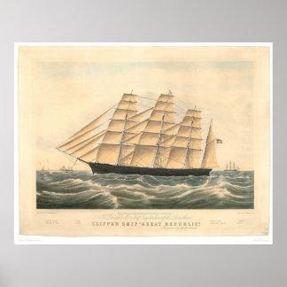 """Nave de podadoras """"gran república"""" (0398A) Póster"""