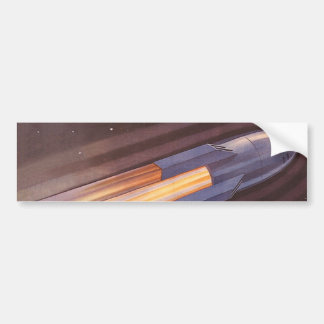 Nave de Rocket de la ciencia ficción del vintage e Pegatina De Parachoque