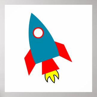 Nave de Rocket del dibujo animado Posters