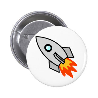 Nave de Rocket del dibujo animado Pin Redondo De 2 Pulgadas