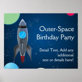 Nave de Rocket del espacio exterior Posters