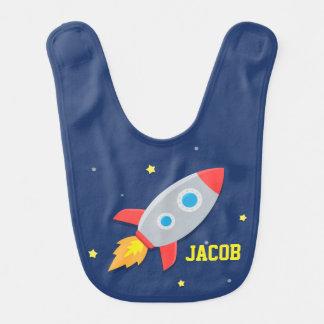Nave de Rocket, espacio exterior, para los bebés Baberos