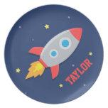Nave de Rocket, espacio exterior, para los muchach Platos Para Fiestas