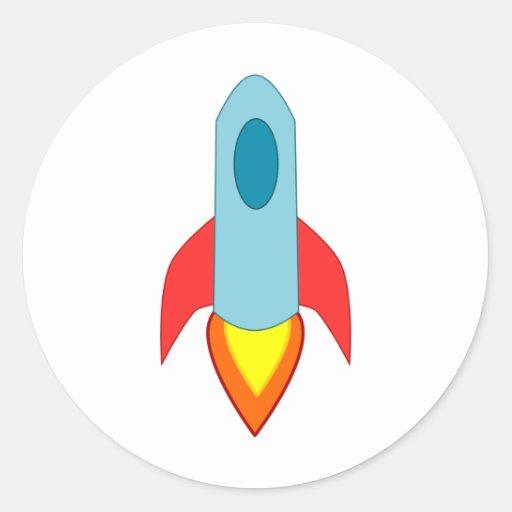 Nave de Rocket Etiquetas Redondas