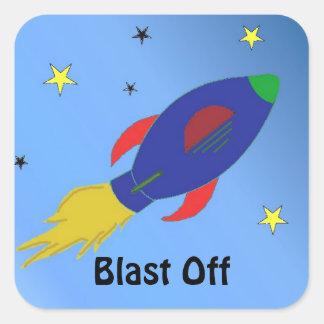 Nave de Rocket que arruina apagado Calcomania Cuadradas Personalizada