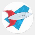 Nave de Rocket retro Etiqueta Redonda