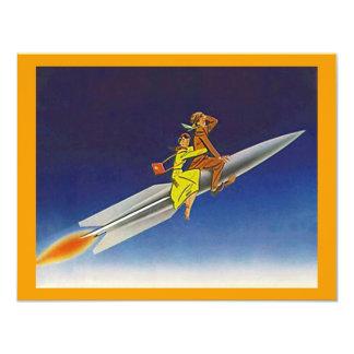"""Nave de Rocket retro que monta invitaciones que Invitación 4.25"""" X 5.5"""""""
