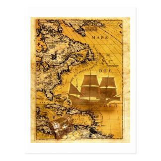 Nave de tesoro tarjeta postal