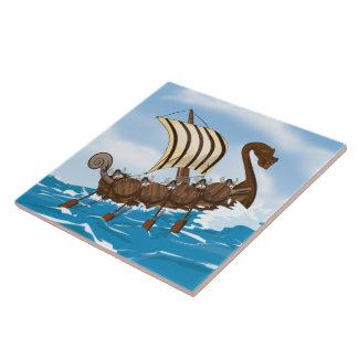 Nave de Viking Azulejo Cuadrado Grande
