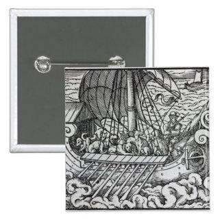 Nave de Viking Pin Cuadrado