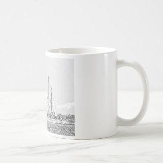 Nave debajo del dibujo de la vela taza de café