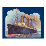 Nave del trazador de líneas del vapor del océano postales