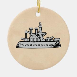 Nave del vintage adorno navideño redondo de cerámica