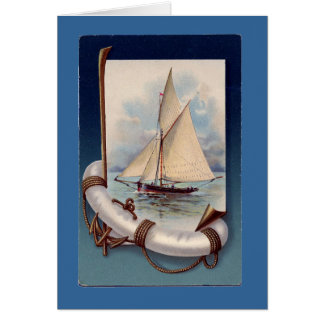 Nave del vintage tarjeta de felicitación