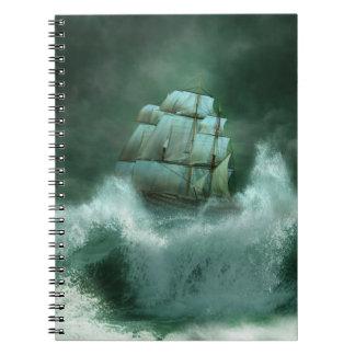 Nave en cuaderno de la tormenta