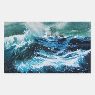 Nave en el mar en tormenta rectangular altavoces