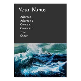 Nave en el mar en tormenta tarjetas de visita grandes