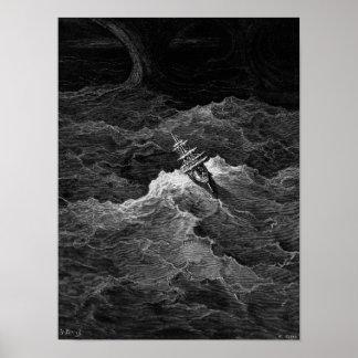 Nave en el mar tempestuoso poster