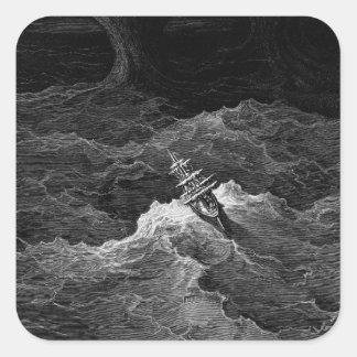 Nave en el mar tempestuoso pegatina cuadrada