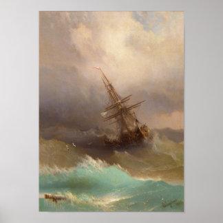 Nave en el mar tempestuoso póster