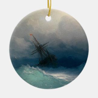 Nave en los mares tempestuosos ornaments para arbol de navidad