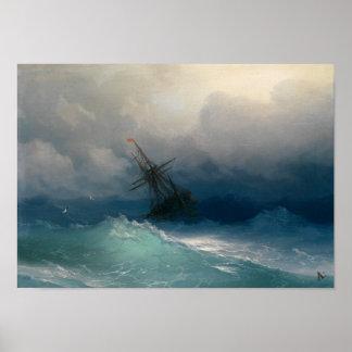 Nave en los mares tempestuosos póster
