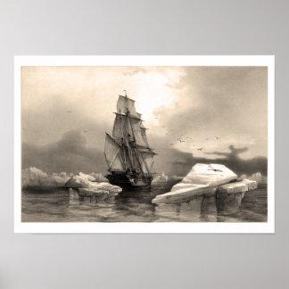Nave en medio de los icebergs póster